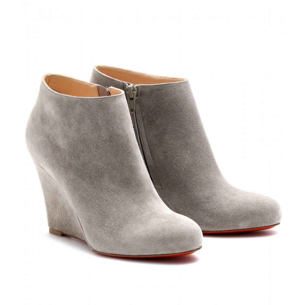 christian louboutin zeppa 85 suede wedges in gray