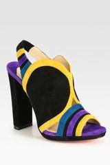 Christian Louboutin Fourmi Suede Colorblock Slingback Sandals in Multicolor (multi) - Lyst