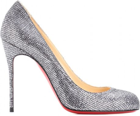 Christian Louboutin Fifi 100 Glitter Pumps in Silver