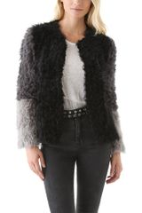 DKNY Colorblock Stretch Shearling Coat - Lyst