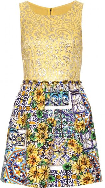 Dolce & Gabbana Mixed Media Dress with Bead Embellishment in Gold