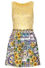 Dolce & Gabbana Mixed Media Dress with Bead Embellishment in Gold - Lyst