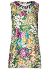 Dolce & Gabbana Floral Silk Top with Crystal Bead Embellishment