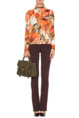 Erdem Kelly Printed Turtleneck Pullover in Orange (pine) - Lyst