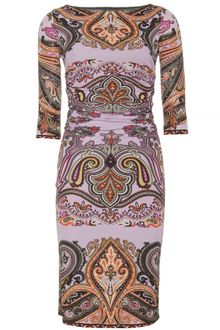 Etro Paisley Printed Ruched Dress - Lyst