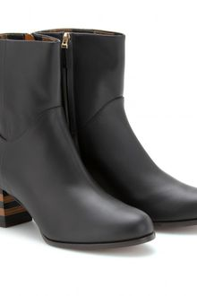 Fendi Leather Ankle Boots with Striped Heels - Lyst