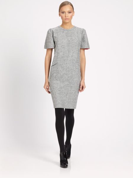 Fendi Tweed Piping Dress in Gray (grey) - Lyst
