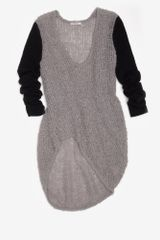 Helmut Lang Preorder Plaited Boucle Colorblock Sweater in Gray (grey) - Lyst