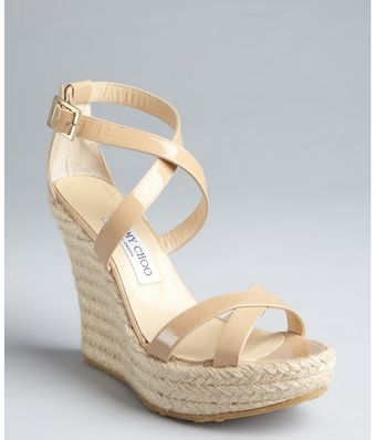Jimmy Choo Nude Patent Leather Porto Espadrille Wedges - Lyst