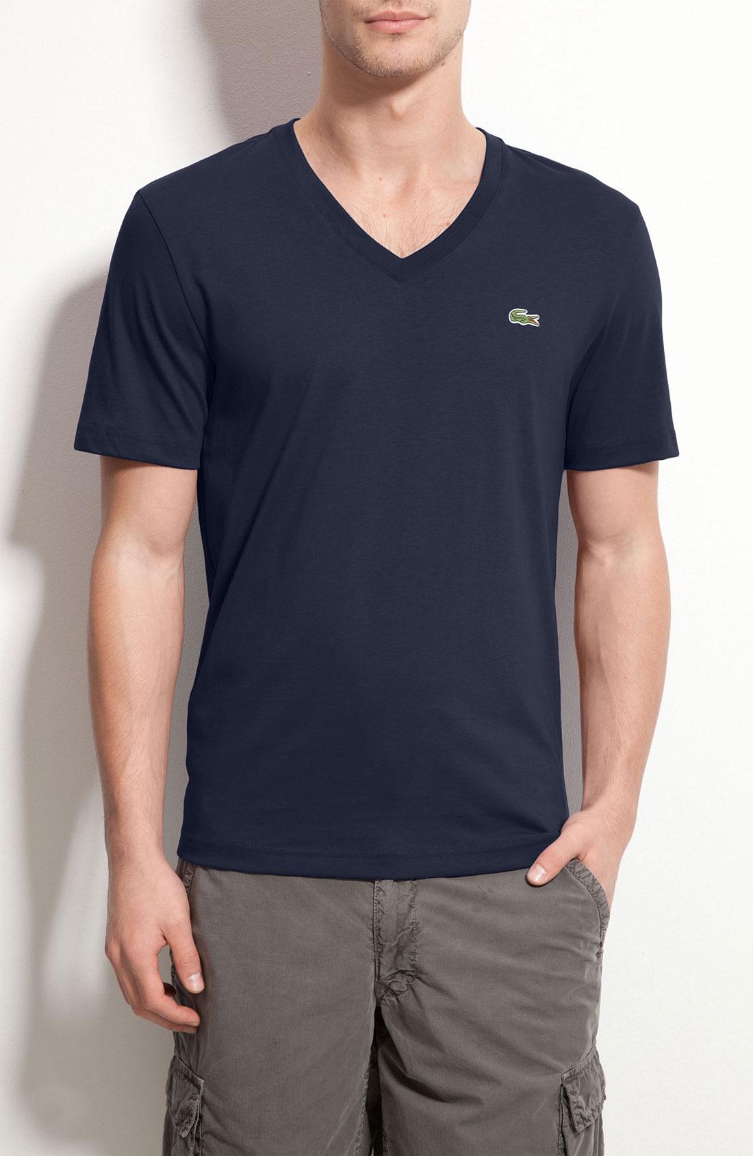 lacoste trim fit jersey v neck t shirt in blue for men. Black Bedroom Furniture Sets. Home Design Ideas
