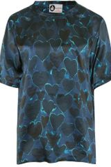 Lanvin Silk Printed Top with Hearts in Blue (blueberry) - Lyst