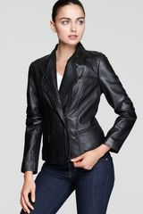 Marc New York Asymmetric Knit Sleeve Leather Jacket - Lyst