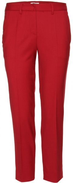 Miu Miu Cropped Trousers in Red (cherry) - Lyst