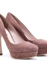 Miu Miu Suede Platform Pumps in Pink (rose) - Lyst