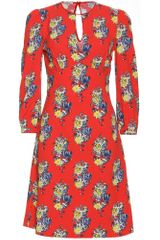 Miu Miu Floral Printed Crepe Dress - Lyst