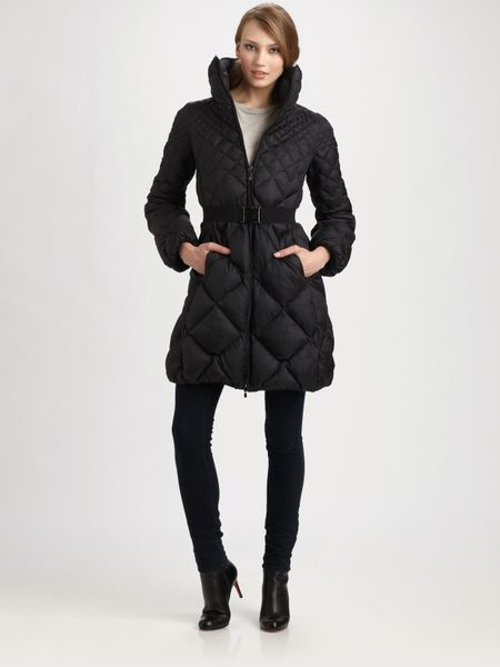 Moncler Belted Quilted Jacket in Black - Lyst