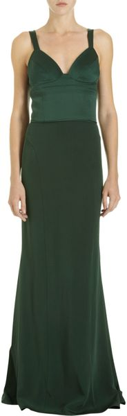 Narciso Rodriguez Top Stitched Bodice Gown in Green (silver) - Lyst