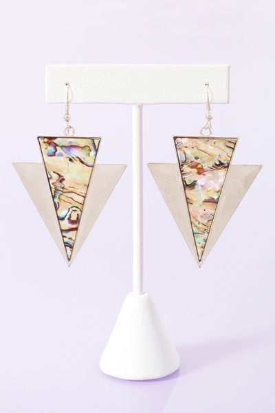 Nasty Gal Abalone Arrow Earrings in Silver