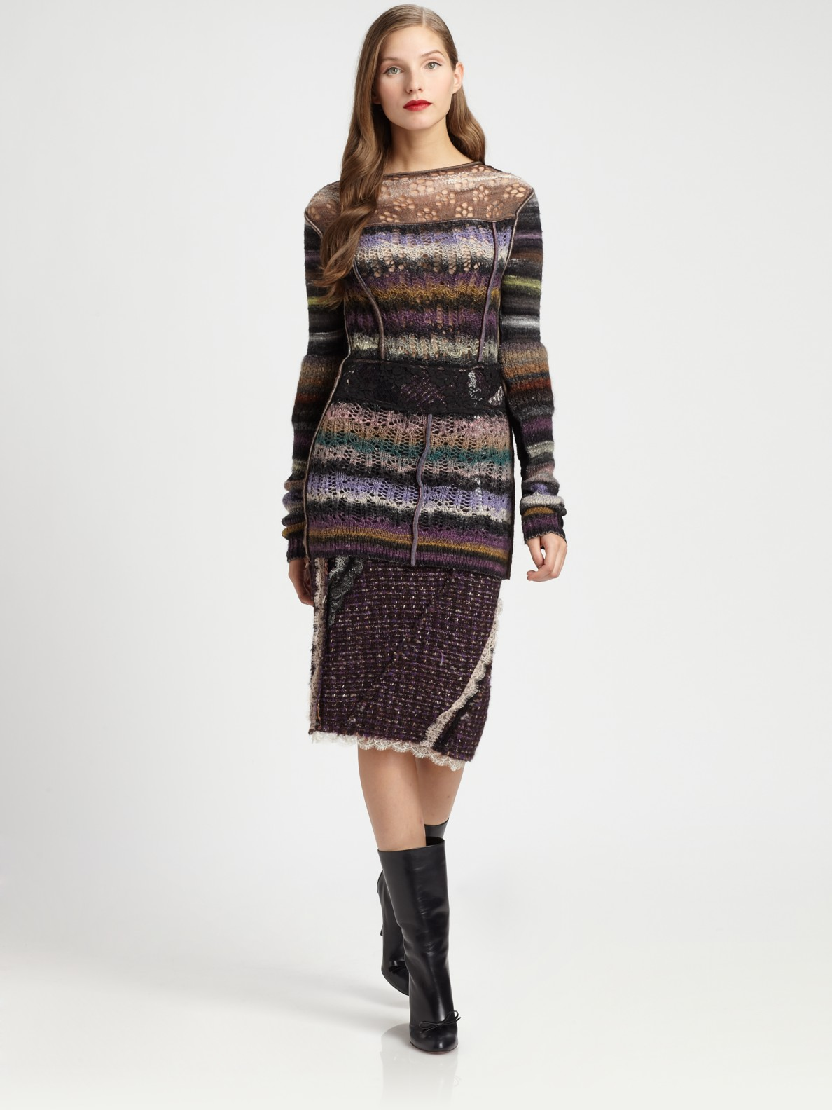 Nina Ricci Patchwork Pullover In Brown Lyst