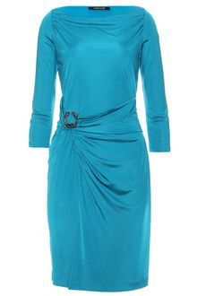 Roberto Cavalli Wrap Effect Dress with Brooch - Lyst