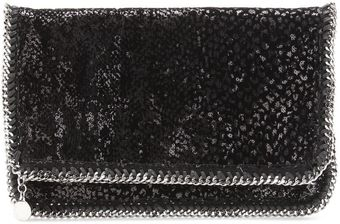 Stella McCartney Falabella Velvet and Sequined Foldover Clutch - Lyst