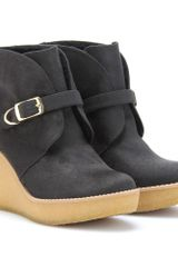 Stella Mccartney Kickapoo Faux Suede Ankle Boots in Gray (black) - Lyst