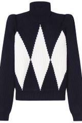 Stella Mccartney Two Tone Knit Pullover in Blue (navy) - Lyst