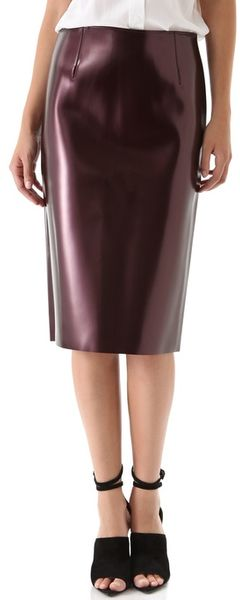 Tibi Vinyl Pencil Skirt - Lyst