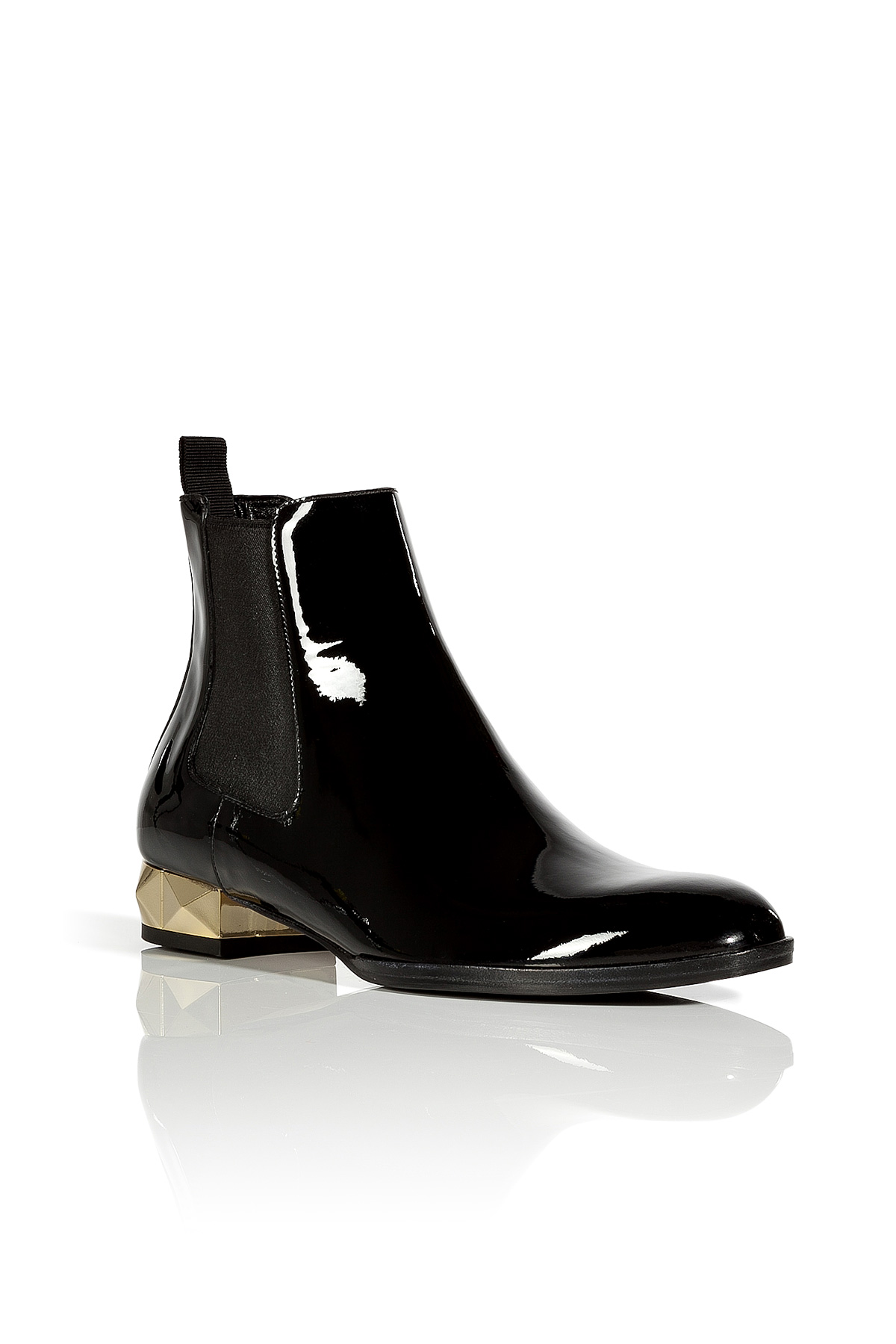 valentino black and gold patent leather flat ankle boots