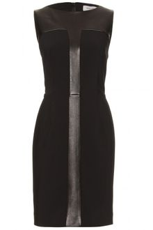 Yves Saint Laurent Wool and Leather Detailed Dress - Lyst