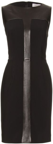 Saint Laurent Wool and Leather Detailed Dress in Black (nero) - Lyst