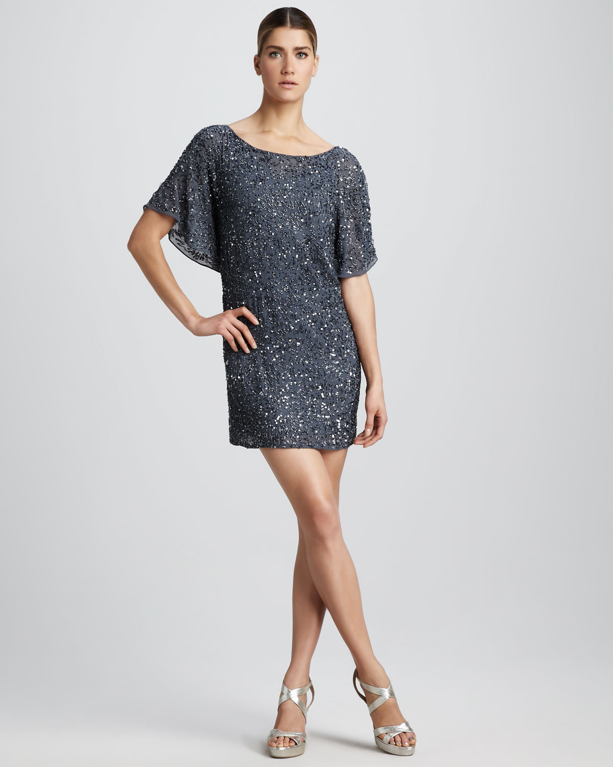 31d4a31fbaf Aidan Mattox Short-sleeve Sequined Cocktail Dress in Blue - Lyst