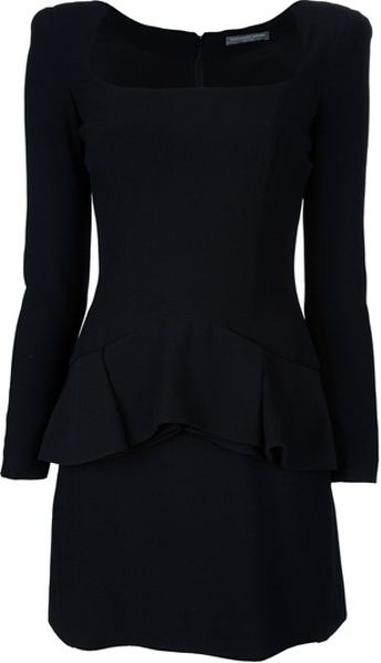 Alexander Mcqueen Pleated Peplum Dress in Black - Lyst