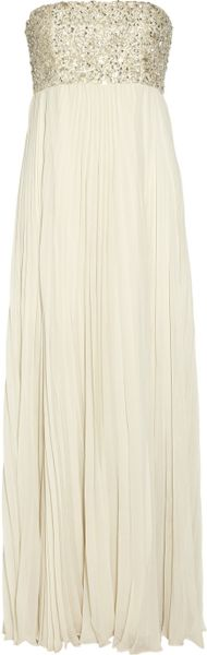 Alice + Olivia Embellished Pleated Silk chiffon Gown in Beige (cream) - Lyst