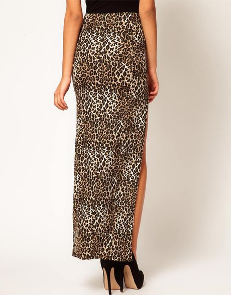 asos animal maxi skirt with thigh high split in animal
