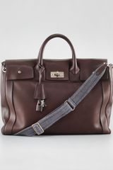 Brunello Cucinelli Turnlock Leather Briefcase - Lyst