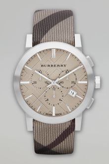 Burberry Checkstrap Chronograph Watch - Lyst