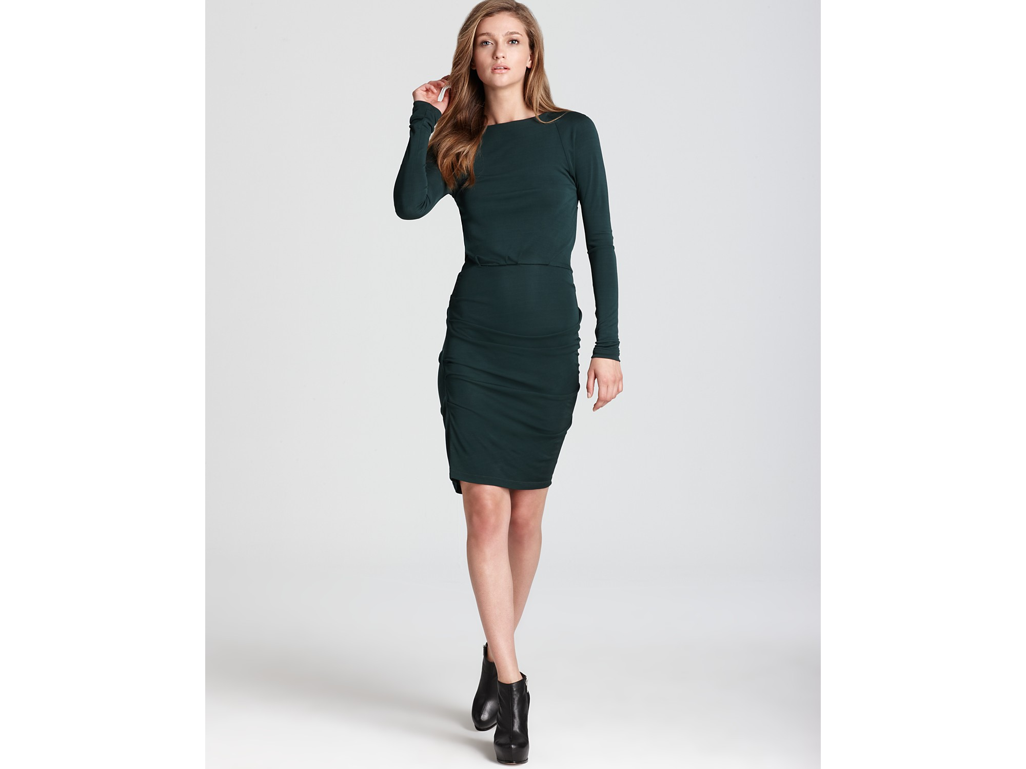 Cut25 Boat Neck Dress Long Sleeve Matte Jersey In Green
