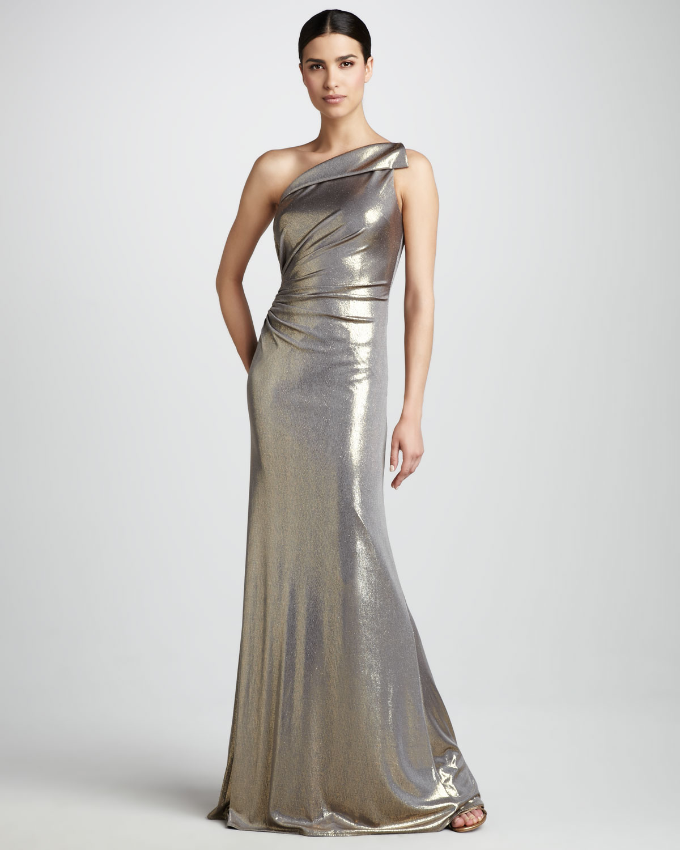 Lyst - David Meister Folded Metallic Gown in Metallic