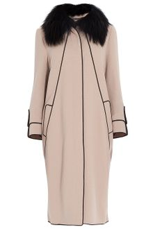 Elie Saab Removable Fur Collar Coat - Lyst