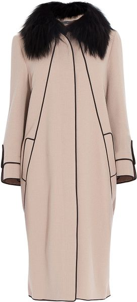 Elie Saab Removable Fur Collar Coat in Beige (silver) - Lyst