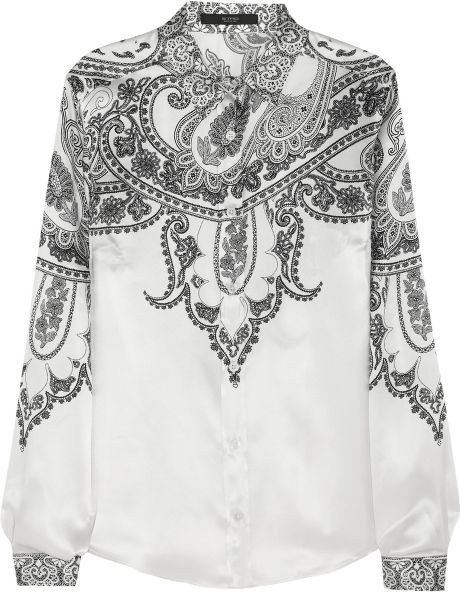 Etro Printed Silksatin Blouse in Beige (cream) - Lyst