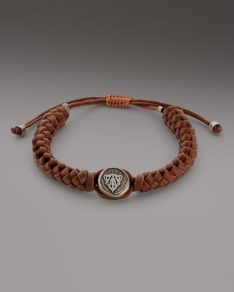Gucci Leather Crest Bracelet Brown in Brown for Men (null) - Lyst