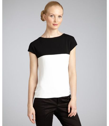 Gucci White and Black Deep Cowl Neck Top in Black (white) - Lyst