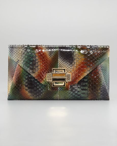 Kara Ross Electra Python Clutch Medium in Multicolor (green) - Lyst