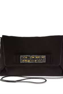 Lanvin Black Maitai Satin Embellished Clutch Bag - Lyst