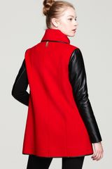 Mackage Boa Drapey Leather Sleeve Coat in Black (red) - Lyst