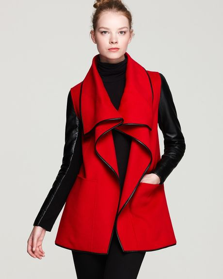 Mackage Boa Drapey Leather Sleeve Coat in Black (red)