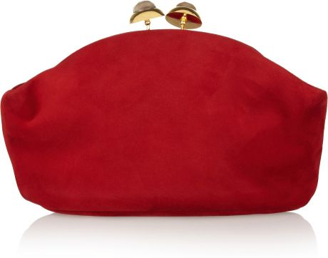 Marni Hornembellished Suede Clutch in Red - Lyst