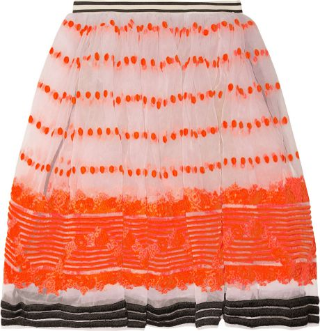 Marni Sequence Embroidered Organza Skirt in Orange (white) - Lyst
